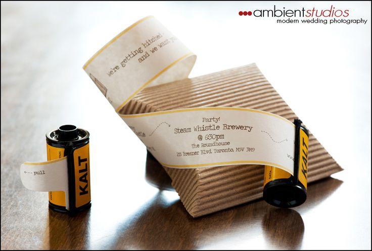 film wedding invitation: Film Invitations, Weddings, Unique Wedding, Invitation Ideas, Invitations Ideas, Parties Invitations, Film Rolls, Film Canisters, Wedding Invitations Design