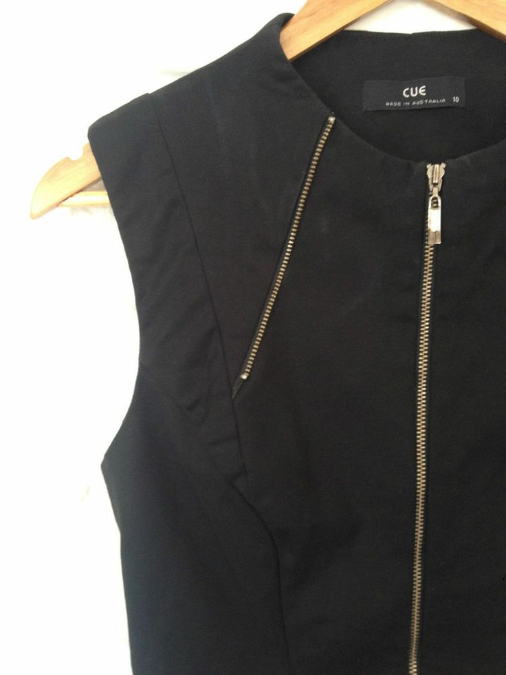 Ladies Cue Black Zip Corporate Dress, Size 10 - RRP $199 - Now Selling! Click through to go to eBay auction.