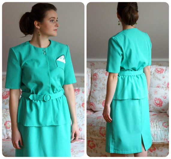 green dress with peplum boutonniere / buttonhole by VintagEraShop