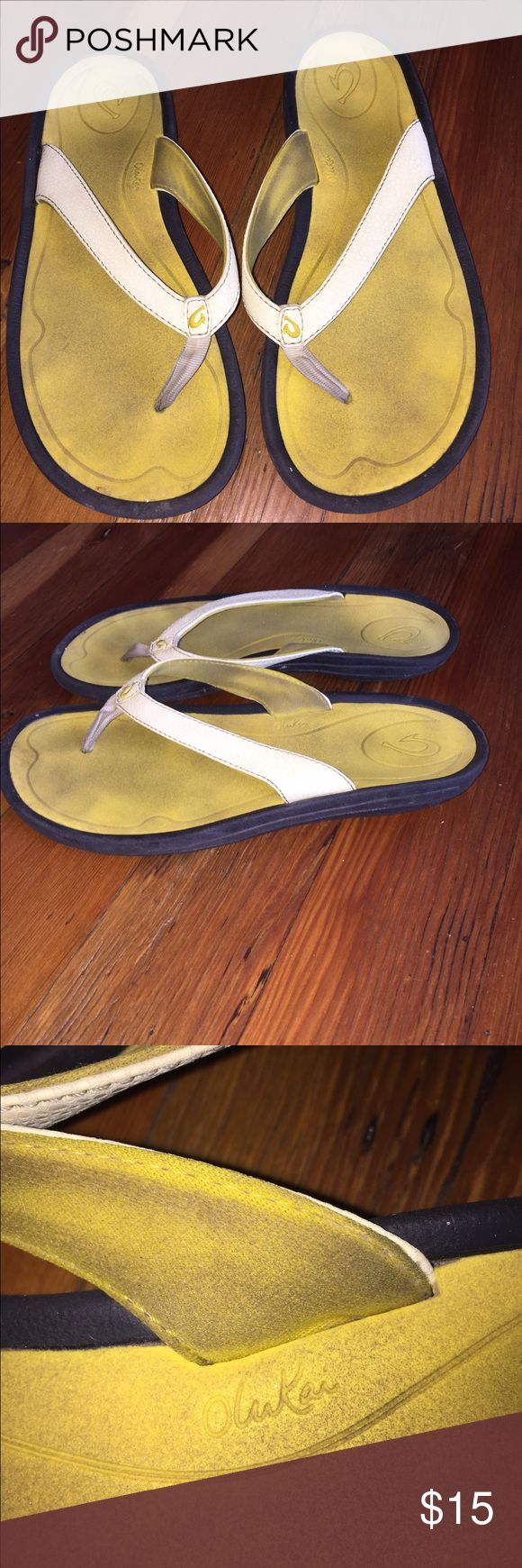 Olukai yellow super comfy flip flops from maui Olukai yellow super comfy flip flops from maui. I'll clean then up OluKai Shoes Sandals