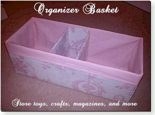 This tutorial will show you how to make a basket out of fabric including dividers. By Emily Hale