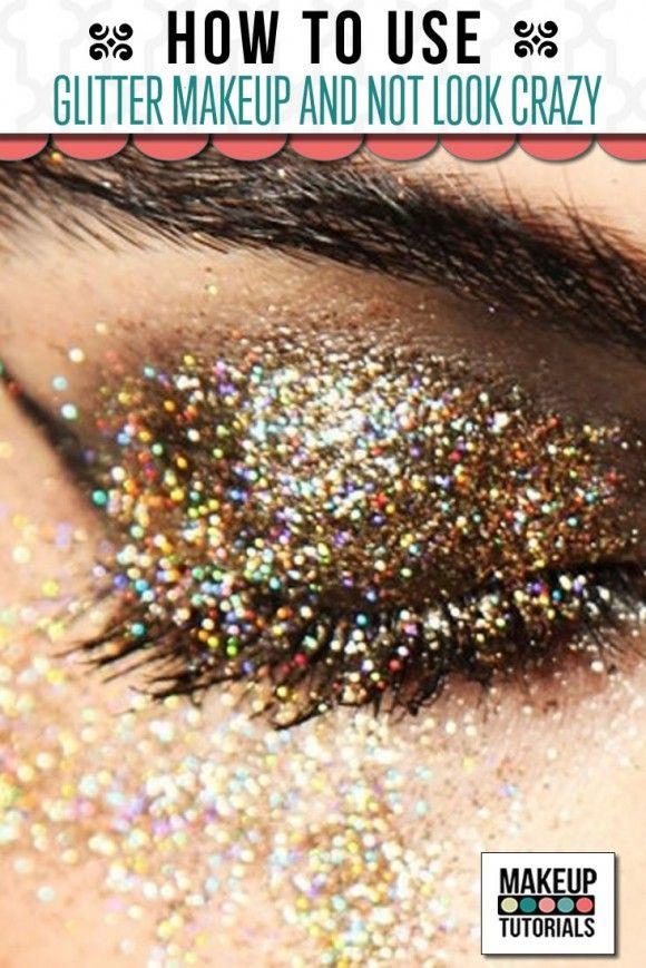 How to apply glitter eye makeup, easy makeup tutorial for glittered eyes. | http://makeuptutorials.com/makeup-tutorials-glitter-eyeshadow-makeup/