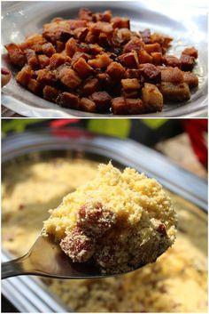 Farofa de Bacon, é uma farofa mista de milho com mandioca mais bacon e linguiça calabresa defumada. É uma farofa sequinha, ideal para acompanhar o feijão preto da feijoada ou o churrasco Muito sab…