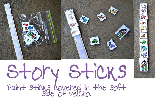 Story Sticks for story sequencing and retelling.