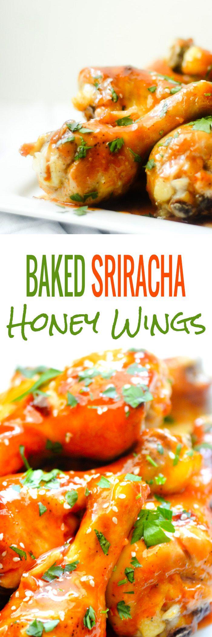 Baked Sriracha Honey Wings/Drum Sticks - Recipe Diaries #chicken #sriracha