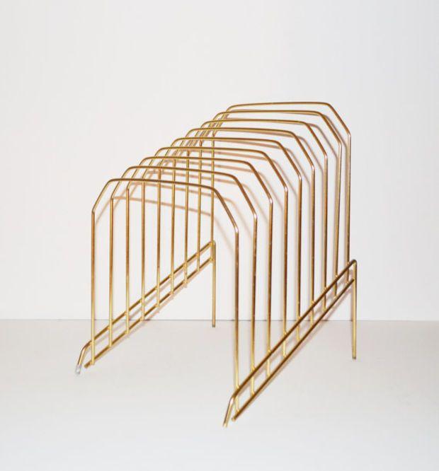 Vintage Brass Rack File Folder Organizer Brass Plate Holder Mid Century Wire Desk Accessory Gold Rack Magazine Rack