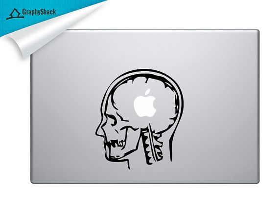 Skull with Apple Brain Mac Decal Vinyl Laptop Decal Mac Stickers Decal Mac 11 13 15 15 Inch for him & for her