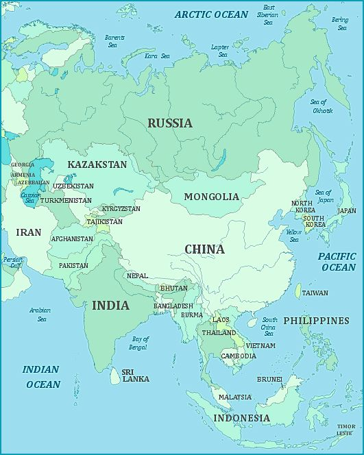 Map of ASIA continent. Fact: about 60% of the world´s population are living in Asia, (for comparison - in North America continent only about 7,5%.) https://en.wikipedia.org/wiki/List_of_continents_by_population