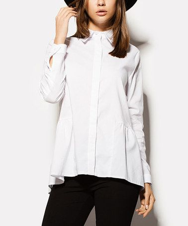 Another great find on #zulily! White Button-Up Swing Top #zulilyfinds