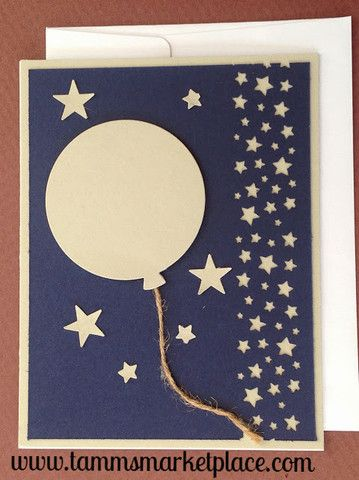 Blue and Beige Balloon and Stars Card, so simple, so sweet.