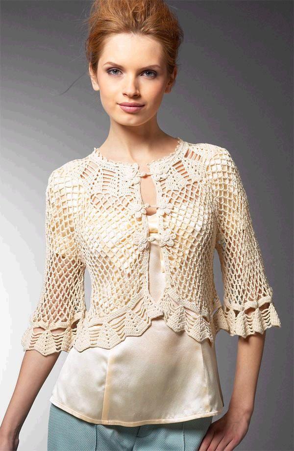 Croche e trico da Fri, Fri´s crochet and tricot. Diagrama de punto y de la prenda, el motivo del cuello se repite en el borde y no viene el diagrama de las flores que cierran la prenda.