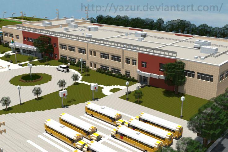 [Minecraft] High School by Yazur.deviantart.com on @deviantART