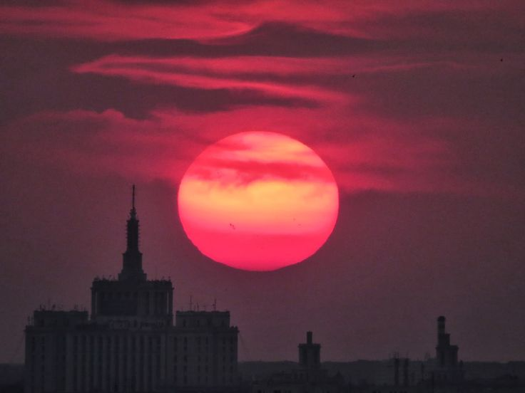 Bucharest, dark red sunset