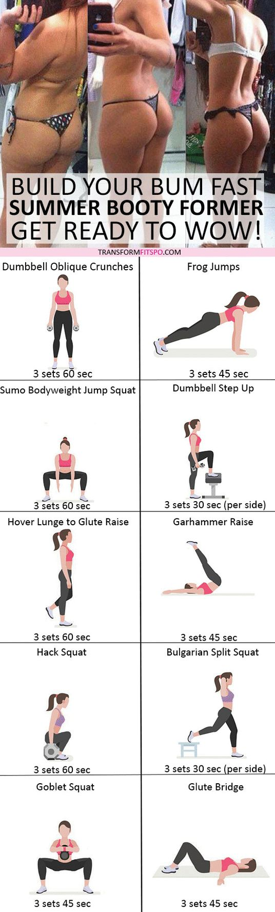 #womensworkout #workout #femalefitness Repin and share if this workout unleashed your summer booty! Click the pin for the full workout. #healthandfitnesstips