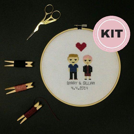 Custom Cross Stitch Family Portrait Kit  2 by peaceandstitches #custom #crossstitch #cross #stitch #engagement #wedding #anniversary #gift #present #unique #personalized #cotton #linen