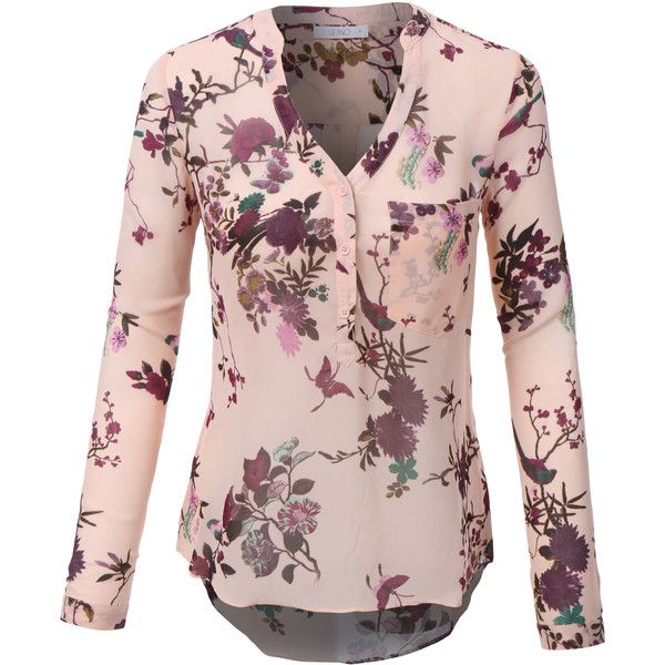 LE3NO Womens Roll Up Long Sleeve Floral Print Chiffon Blouse Top ($19) ❤ liked on Polyvore featuring tops, blouses, shirts, long-sleeve crop tops, floral shirt, floral long sleeve shirt, long shirts and long sleeve tops