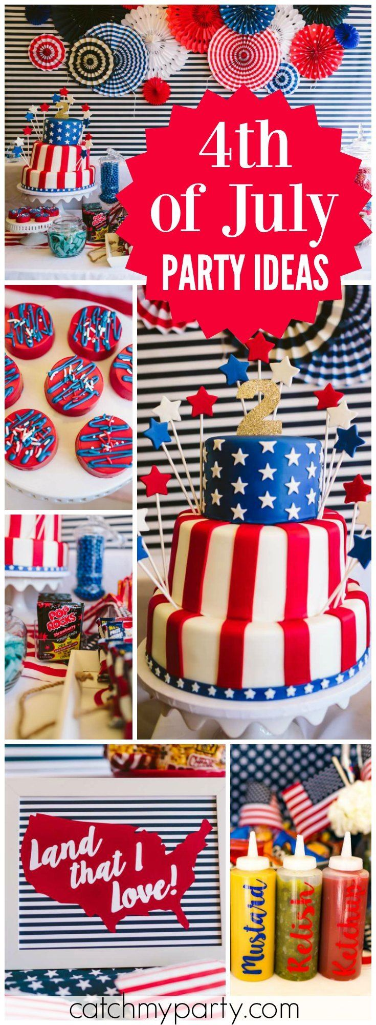 Wow! What a fantastic red, white and blue 4th of July birthday party! See more party ideas at Catchmyparty.com!