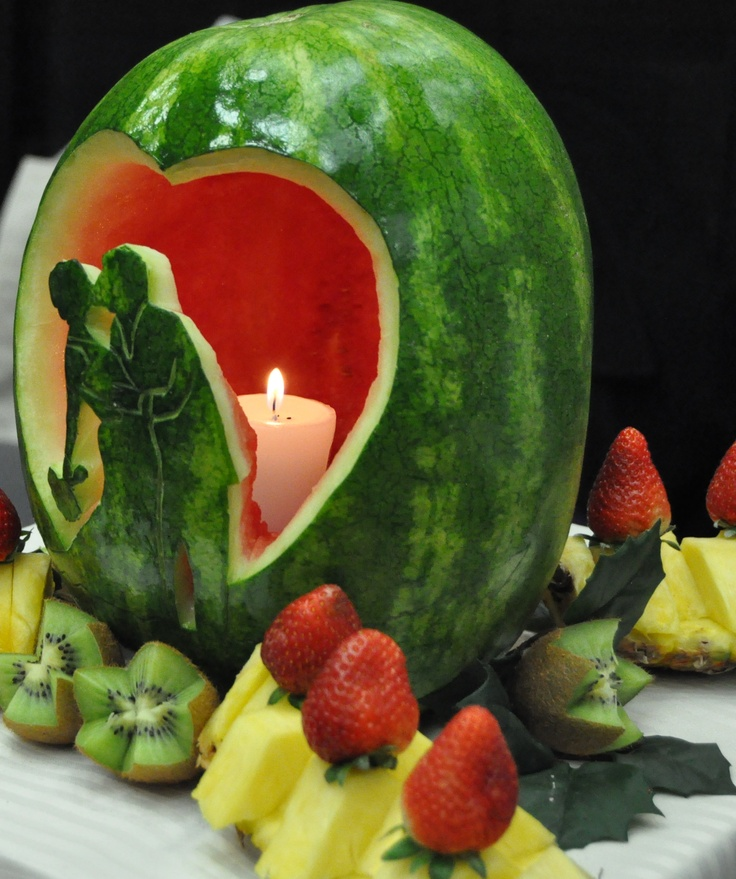 Carved wedding watermelon by simply delicious fruit tables for Apples decoration