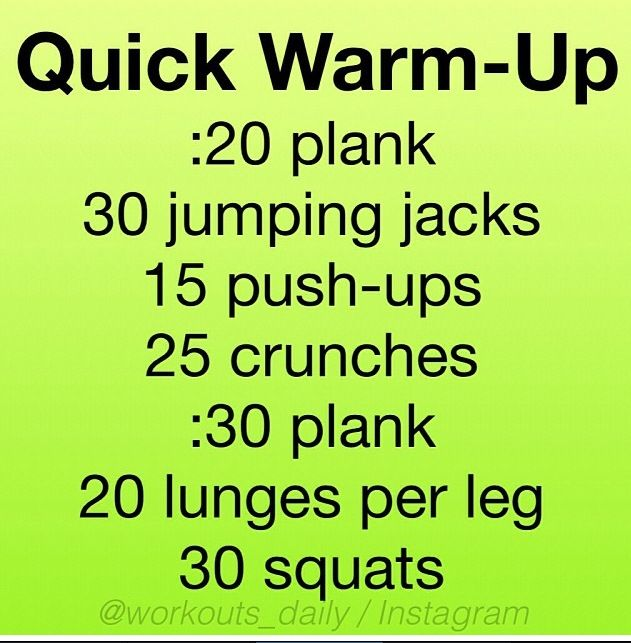 Pre- workout warm up