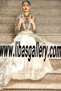 MUSE Wedding Sharara Styles, MUSE Bridal Sharara Designs 2017 for Special Occasions UK USA Canada Australia Saudi Arabia Norway. Be your own kind of beautiful.  The rich Off White and gold of the outfit will make you glow on your wedding day. On a budget?  www.libasgallery.com #UK #USA #Canada #Australia #France #Germany #SaudiArabia #Bahrain #Kuwait #Norway #Sweden #NewZealand #Austria #Switzerland #Denmark #Ireland #Mauritius #Netherland #Partywear #SpecialOccasionDress #style 💕…