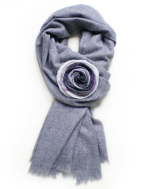 Wool Flower Brooch White Grey Felt Flower Brooch Gift fot Her Nicely Textured With Violet and White Silk Fibers Eco Friendly Jewelry