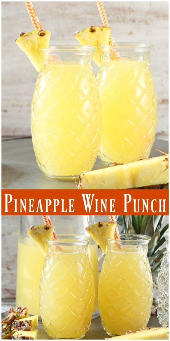 Easy Pineapple Wine Punch ~ 4 ingredient, large batch cocktail #recipe from Miss…