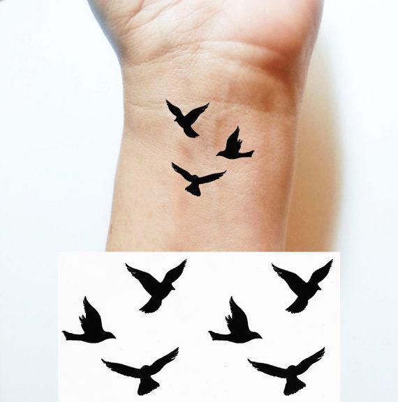 Temporary TATTOO Body Art 3 Birds In Flight Tattoo Size