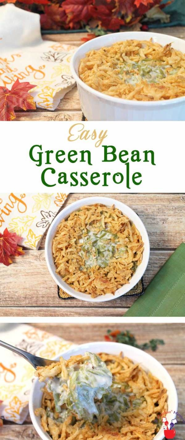 Traditional Green Bean Casserole | 2 Cookin Mamas An easy green bean casserole that mixes mushroom soup with crunchy fried onions for a favorite Thanksgiving side. #recipe #dinner #glutenfree