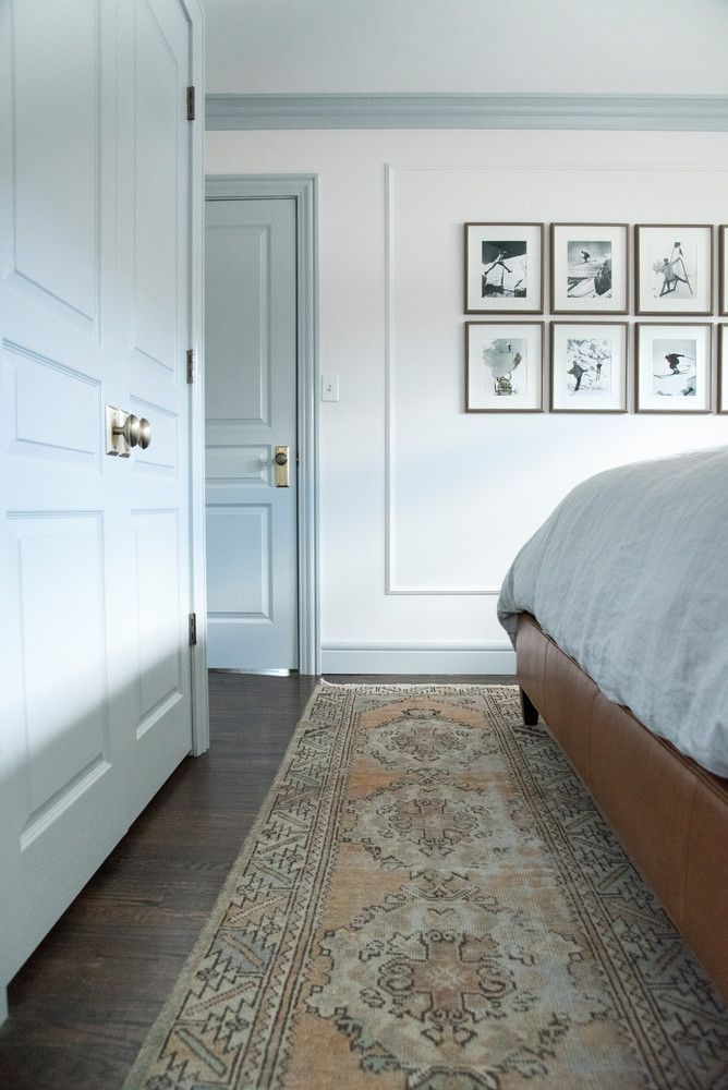 painted trim, bedroom inspiration, vintage runner.