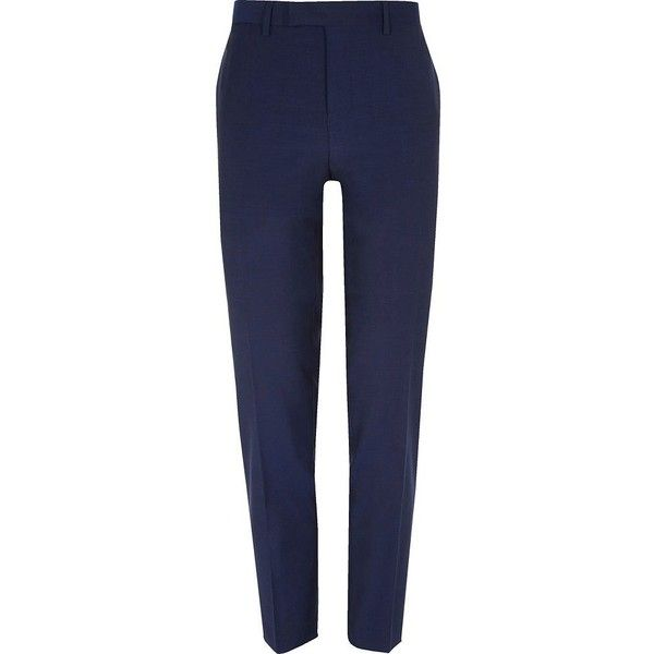 River Island Bright blue slim fit suit trousers (49 CAD) ❤ liked on Polyvore featuring men's fashion, men's clothing, men's pants, men's dress pants, suits, mens slim fit suit pants, mens slim dress pants, mens tall pants, tall mens dress pants and mens slim fit dress pants