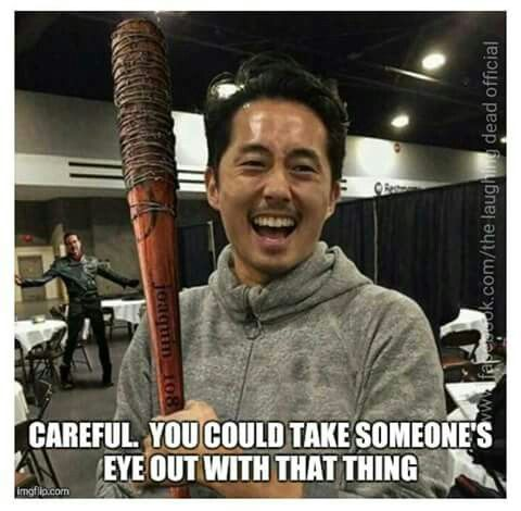 """I love how Negan is just standing there like, """"He took my bat? What the hell?"""""""