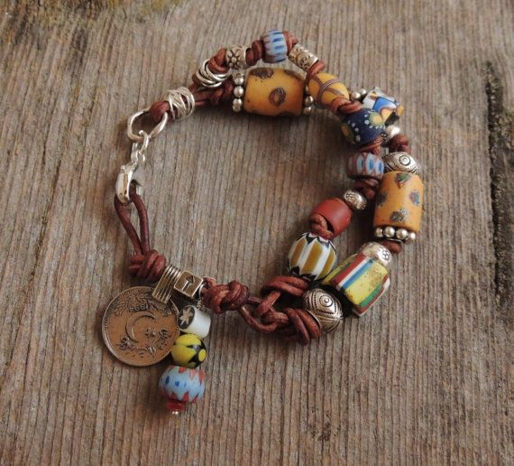 African Trade Bead, Leather Knotted, Double Strand, Thai Silver Bracelet, Artisan Jewelry, Rustic Handcrafted