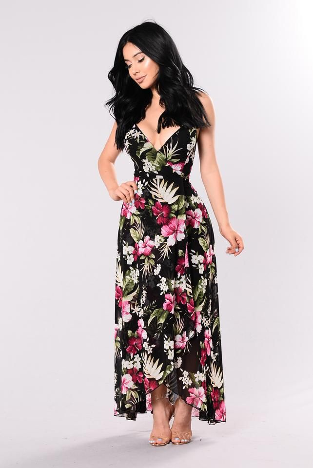 Botanical Tropical Dress - Black