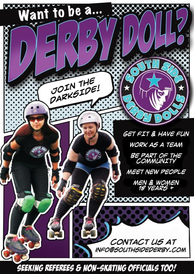 Play roller derby in South Sydney! South Side Derby Dolls