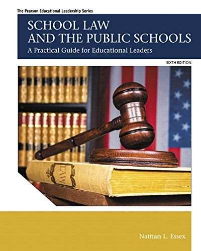 School Law and the Public Schools: A Practical Guide for Educational Leaders (6th Edition) (The Pearson Educational Leadership Series) by Nathan L. Essex http://www.amazon.com/dp/013390542X/ref=cm_sw_r_pi_dp_9XRYub01JK37Z