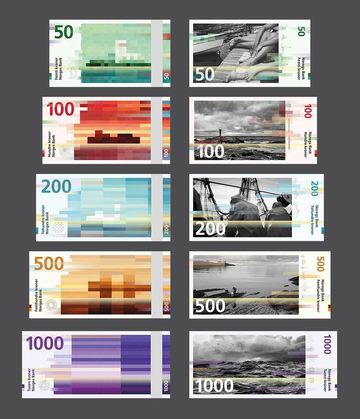 Nuevos billetes noruegos // The new Norwegian Krone banknotes, courtesy of Snøhetta Design (http://graffica.info/noruega-billetes-punk-vanguardia/)