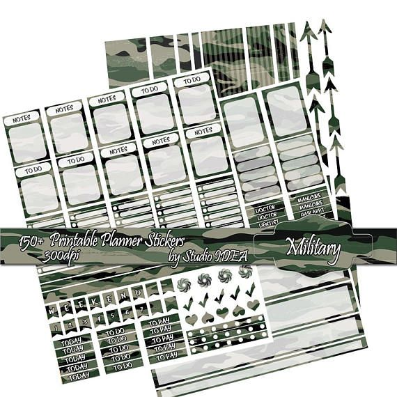 Printable Planner stickers 300dpi Camouflage Planner