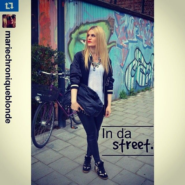 "#Repost from @mariechroniqueblonde New #outfit post on chroniqueblonde.com ""In da street"" #ootd #blogger #fashion #serafini #serafinishop #sneakers #wedge"