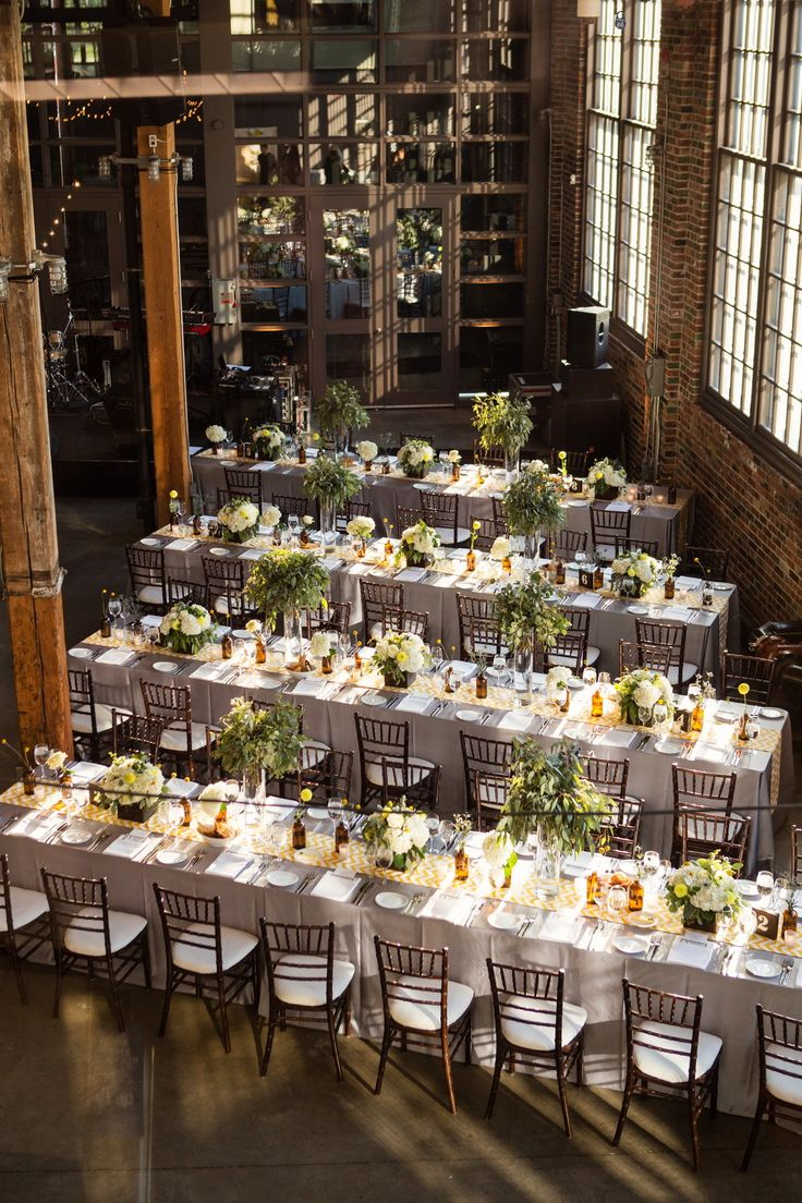 //A beautiful set up at Steam Whistle Brewery// Photography: Root Photography - rootweddings.com  Read More: http://www.stylemepretty.com/canada-weddings/2014/02/06/steam-whistle-brewery-wedding/