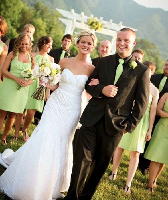 In this country setting the green bridesmaids gowns really compliment the bride and groom. For more information about Knoxville's premier wedding rentals company, Anderson Rentals, click the image above. Photo credit: Anderson Rental