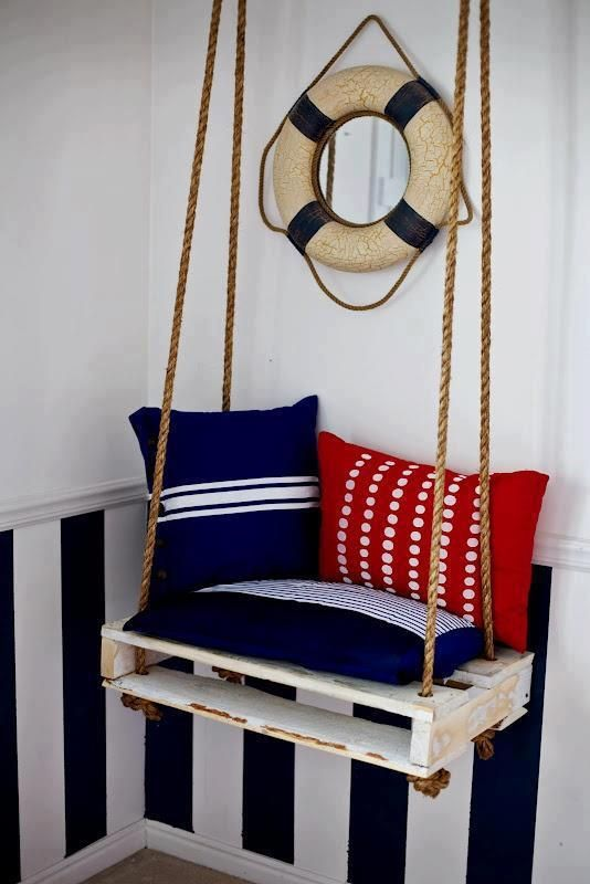 Pallet swing.so cute for a little boys room! Love the nautical decor