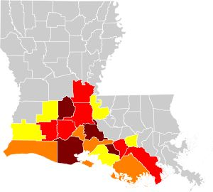 French spread in Louisiana. Parishes marked in yellow are those where 4–10% of the population speak French or Louisiana French at home, orange 10–15%, red 15–20%, brown 20–30%.