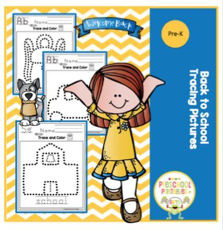 Back to School Tracing Pictures ~ Preschool Printables