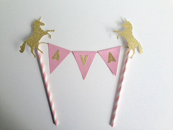 Hand crafted birthday Cake Bunting Topper, the perfect embellishment for your cake! In a modern baby pink and with a gold glitter unicorn its a