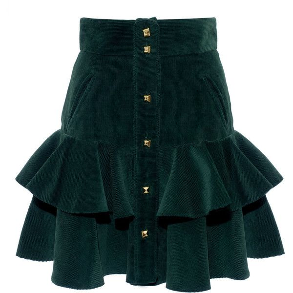 Carmen Ruffle Mini Skirt   Moda Operandi (4,895 MYR) ❤ liked on Polyvore featuring skirts, mini skirts, sequin a line skirt, knee length a line skirt, green sequin skirt, green a line skirt and a-line skirts