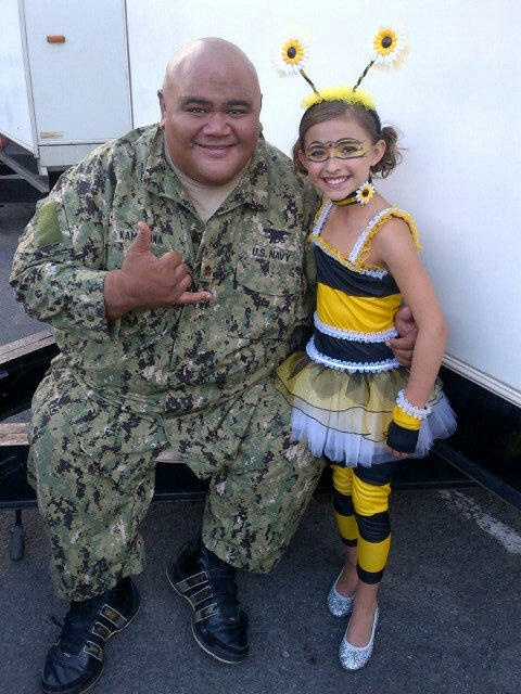 """Teilor Grubbs (Grace Williams) and Taylor Wily (Kamekona) tweeted by Teilor.  This was from their annual Halloween episode """"Mohai"""" (Offering)."""