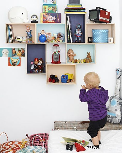 Lovely keepsake display shelves - crate style