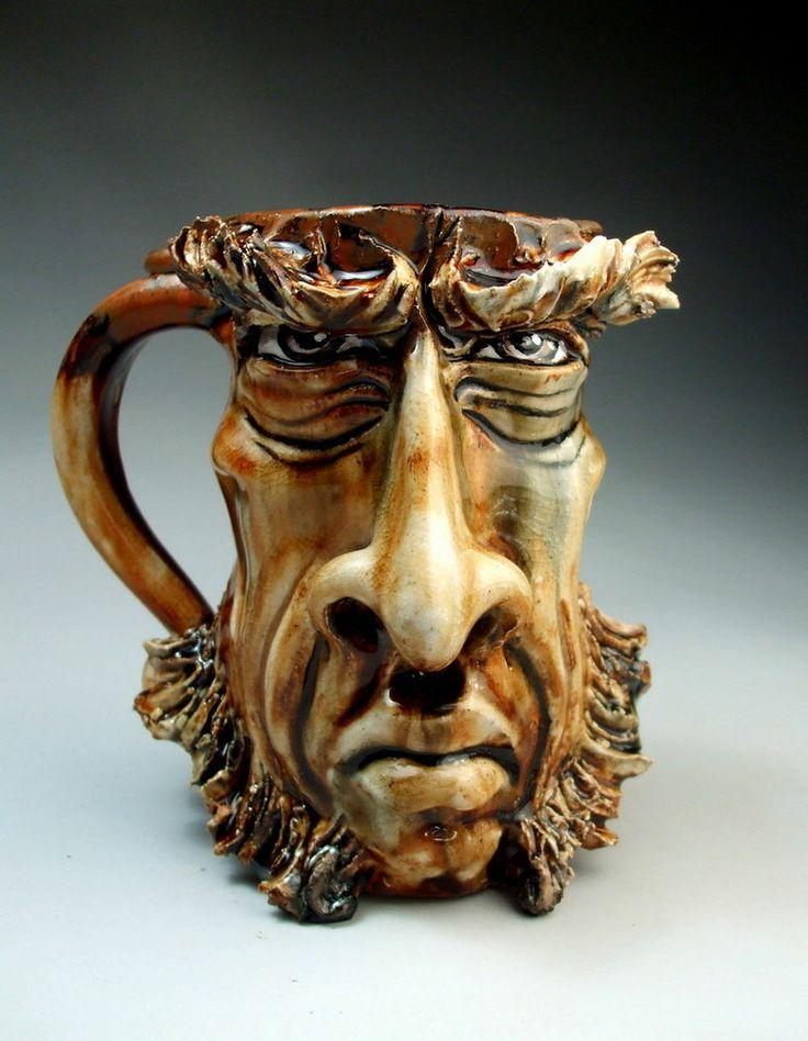 Scottish Face Jug Mug stoneware sculpture coffee beer stein pottery by Grafton