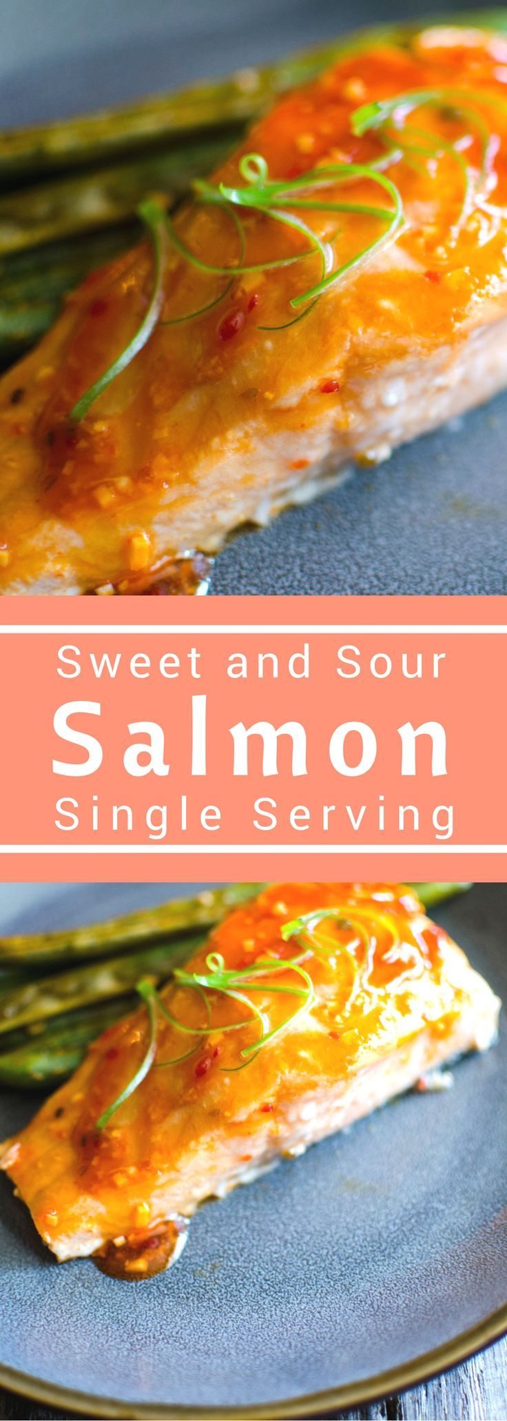 Sweet and Sour Salmon for #SundaySupper this easy recipe is packed with flavor. Dinner for one doesn't have to be boring! With a sweet and tangy glaze and some crunchy green beans this one pan dinner has it all!