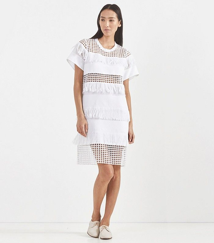 Sea NY Fringed Cotton T Shirt Dress with mesh panneling in White